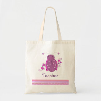Teacher Pink and Purple Ladybug Tote Bag