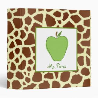 Teacher Plan Book / Giraffe Print & Green Apple 3 Ring Binder