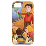 Teacher pointing to map, three children in desks iPhone 5 cover