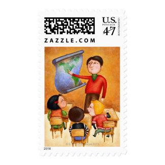 Teacher pointing to map, three children in desks postage