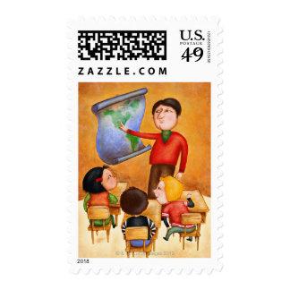 Teacher pointing to map three children in desks stamp