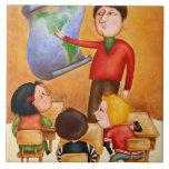 Teacher pointing to map, three children in desks ceramic tile