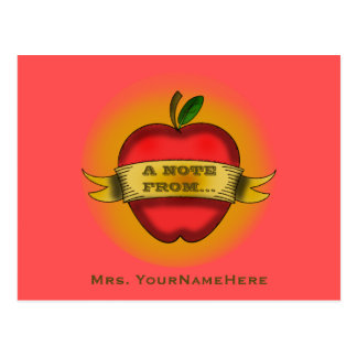 Teacher Postcard - Vintage Apple Tattoo