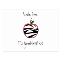 Teacher Postcard - Zebra Print Apple