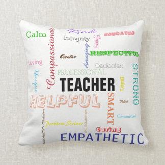 Teacher Pride Gift Attributes Traits Typography Throw Pillow
