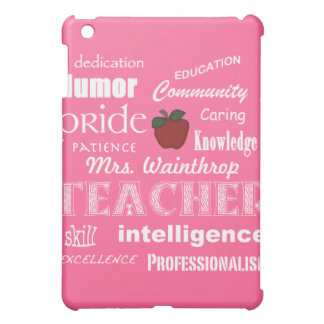Teacher Pride/Personalize Name+Red Apple-Pink iPad Mini Case