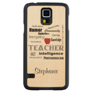 Teacher Pride+Red Apple/Personalize Name Carved Maple Galaxy S5 Slim Case