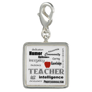 Teacher Pride+Red Apple/Text Design Photo Charms