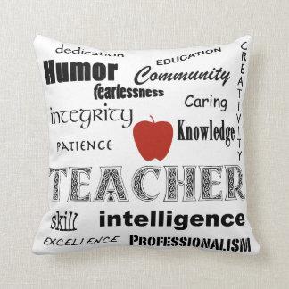 Teacher Pride Text Design-Red Apple Throw Pillow