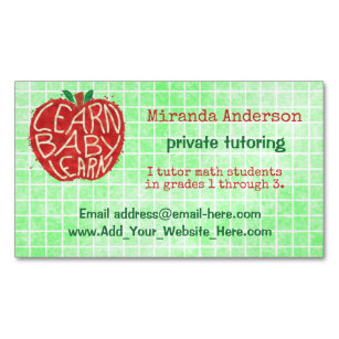 Learning maths business cards zazzle teacher private tutor learn baby apple and grid business card magnet reheart Gallery