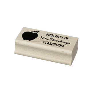 Teacher Property of Classroom Apple Silhouette Rubber Stamp