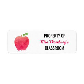 Teacher Property of Classroom Watercolor Red Apple Label