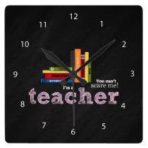 Teacher quote square wall clock