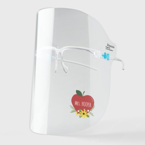 Teacher Red Apple Floral Face Shield