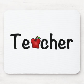 Teacher Red Apple Whimsical Happy Design Mouse Pad