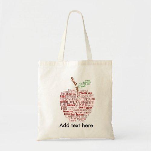 Teacher Red Apple word cloud thank you bag
