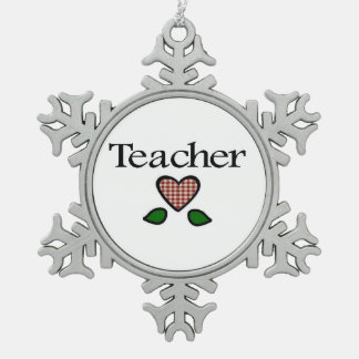 Teacher Red GH Snowflake Pewter Christmas Ornament