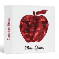 Teacher Red Sequin Apple Classroom Notes Pretty 3 Ring Binder