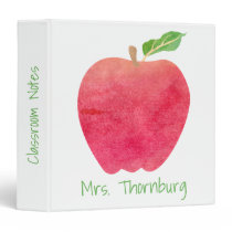 Teacher Red Watercolor Apple Classroom Notes Binder