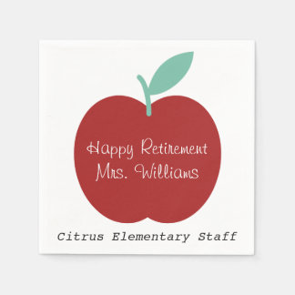Teacher Retirement Apple Party Napkins