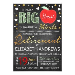 Retirement teacher invitations announcements zazzle teacher retirement chalkboard takes a big heart invitation stopboris Images