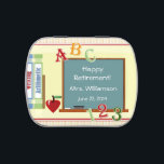 """Teacher Retirement Party Favor Candy Tin<br><div class=""""desc"""">Cute happy teacher retirement personalized chalkboard illustration party favor candy tin! This fun party favor is filled already with yummy candy and it features an illustration art drawing of books, a chalkboard an apple and letters and numbers too! All things that remind us of a teacher! It is a wonderful...</div>"""