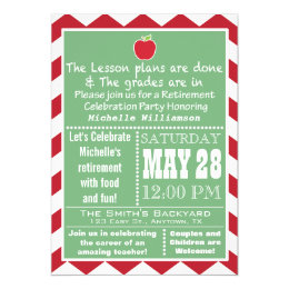 Teacher retirement invitations announcements zazzle teacher retirement party invitation stopboris