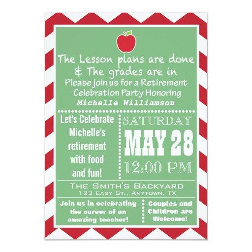 Teacher Retirement Party Invitation   Zazzle