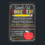 "Teacher Retirement Party Invitation<br><div class=""desc"">Adorable teacher retirement invitation with a faux chalkboard look and cute school graphics!