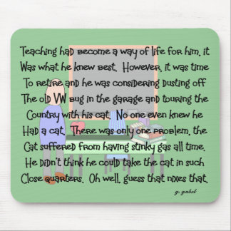 "Teacher Retirement Story Art ""Stinky Cat"" Mouse Pad"