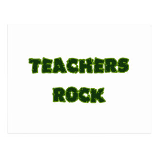 Teacher rock green postcard