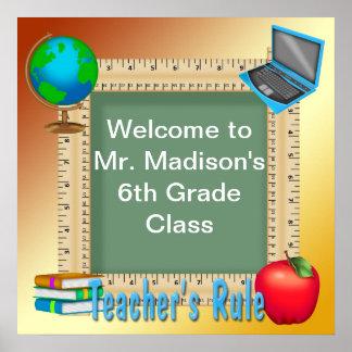 Teacher s Rule Chalk Board Poster Print