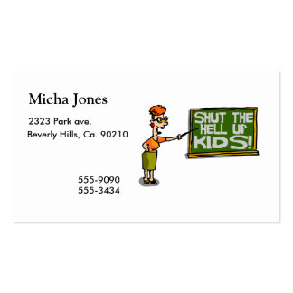 Teacher Says Shut The Hell Up Kids Double-Sided Standard Business Cards (Pack Of 100)