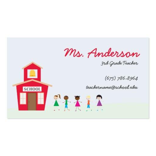 Teacher School and Children Business Card