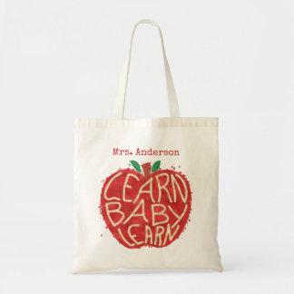 Teacher School Classroom Apple | Learn Baby | Name Tote Bag