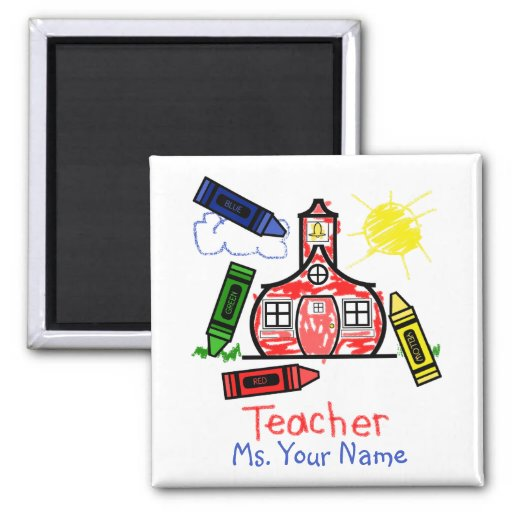 Teacher Schoolhouse, Ms. Your Name 2 Inch Square Magnet