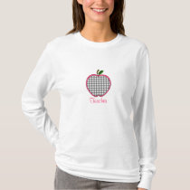 Teacher Shirt - Gray Gingham Apple