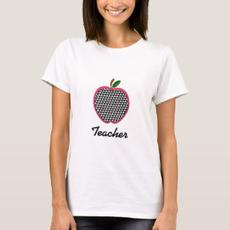 Teacher Shirt - Houndstooth Apple With Pink Trim