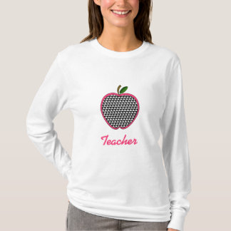 Teacher Shirt - Houndstooth Apple With Pink Trim