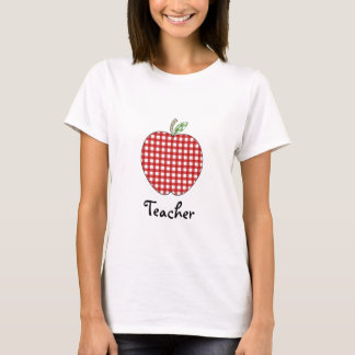 Teacher Shirt - Red Gingham Apple