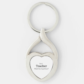 Teacher Silver-Colored Heart-Shaped Metal Keychain