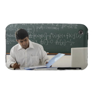 teacher sitting at desk, working iPhone 3 cover
