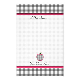 Teacher Stationery - Charcoal Gray Gingham Apple