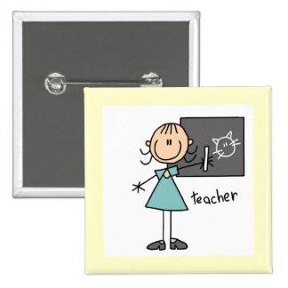 Teacher Stick Figure Pinback Button