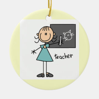 Teacher Stick Figure Ceramic Ornament
