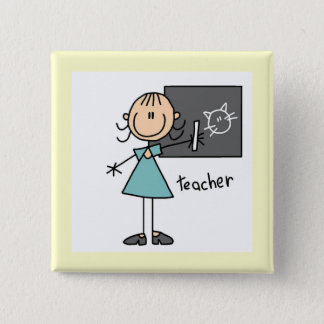 Teacher Stick Figure Pinback Button