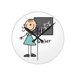 Teacher Stick Figure Round Clock
