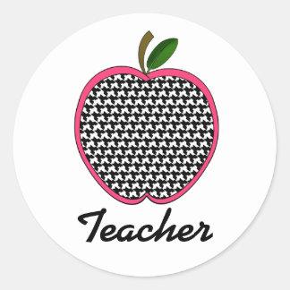 Teacher Sticker -Houndstooth Apple With Pink Trim