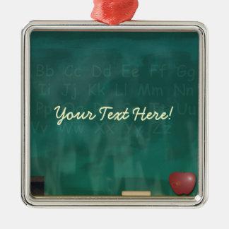 Teacher Student Blackboard Metal Ornament