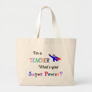 Teacher Superhero Large Tote Bag